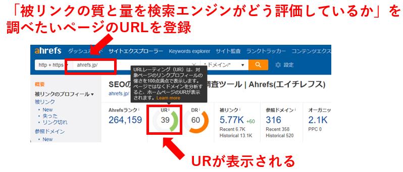 「被リンクの質と量を検索エンジンがどう評価しているか」を調べたいページのURLを登録